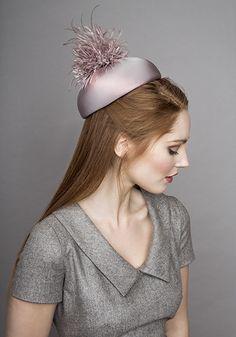 Rachel Trevor Morgan Millinery  Autumn Winter 2015 R15W7 Pink Jackie O pillbox hat with ostrich pompom