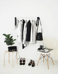 Run out of closet space? Buy or repurpose a clothing rack by showcasing your favorite pieces as a decor element. Get inspired by these five minimalist-chic spaces that make the best of the garment. Wardrobe Sets, Wardrobe Closet, Closet Space, Closet Tour, Capsule Wardrobe, Interior Inspiration, Room Inspiration, Vintage Wardrobe, Diy Room Decor
