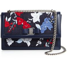 Salvatore Ferragamo Ginny Embroidered Denim Shoulder Bag ($1,330) ❤ liked on Polyvore featuring bags, handbags, shoulder bags, salvatore ferragamo handbags, blue handbags, embroidery purse, shoulder hand bags and embroidered purse
