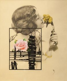 Varujan BoghosianRose Sail La Vie, 2013  Collage on found lithograph 21 1/4 x 17 1/4 in.  at Kent Fine Art