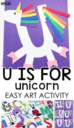 Alphabet Easy Art Crafts letter u craft u is for unicorn easy art letter craft for students with special needs or an early childhood pre-school classroom to work on fine motor tasks and step-by-step visual directions Preschool Letter Crafts, Alphabet Letter Crafts, Abc Crafts, Letter Activities, Alphabet Book, Preschool Art, Preschool Learning, Toddler Crafts, Preschool Activities