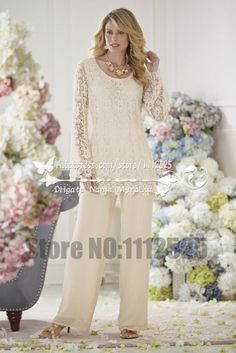 AMP1010 Elegant Ivory Lace mother of the bride pants suit  Two piece outfit…