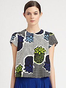 Moschino Cheap And Chic - Pineapple Print Poplin Top  Wear with drop crotch trousers