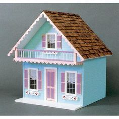 Real Good Toys Snow Country Chalet Kit - 1 Inch Scale at Hayneedle Wooden Dollhouse Kits, Dollhouse Supplies, Dollhouse Toys, Dollhouse Miniatures, Putz Houses, Bird Houses, Raised Panel Shutters, Real Good Toys, Birdhouse Designs