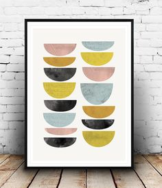 Abstract art, Watercolor print, Geometric art, Mid centruy modern, Abstract wall art, Colorful print, Scandinavian print, modern print, Dimensions