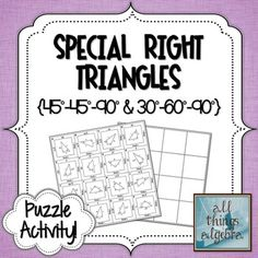 Special Right Triangles Puzzle Activity Teaching Geometry, Teaching Math, Teaching Ideas, Math 2, 7th Grade Math, Special Right Triangle, Teaching Secondary, Pythagorean Theorem, Trigonometry