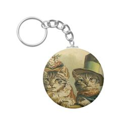 Vintage Victorian Cats in Hats, Funny Silly Humor Key Chain