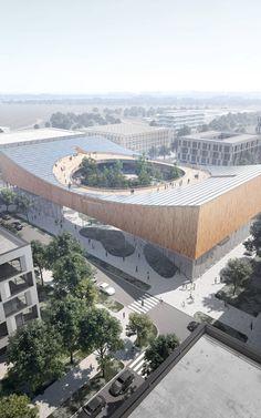 Cobe – Science Center – An icon of sustainability Science Centre Architecture, Hospital Architecture, Architecture Building Design, Architecture Collage, Concept Architecture, Library Architecture, Atrium Design, Science Park, Urban Design Diagram