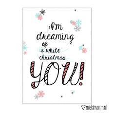 Kerst-ansichtkaart met quote ||  I'm dreaming of you door MIEKinvorm op Etsy