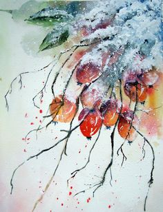 There were 19 of us at Avon Valley Artists this morning, and it was great to see so many interpretations of the subject. There were some lov. Watercolor Art Face, Watercolor Fruit, Watercolor Art Paintings, Watercolor Flowers, Plan Image, Winter Szenen, Art Background, Christmas Art, Flower Art
