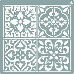 Pochoir 20x20 cm Carreau Ciment ST278 Stencil Painting, Ceramic Painting, Stenciling, Mosaic Tray, Mosaic Tiles, Tile Patterns, Pattern Art, Printable Stencil Patterns, Decorative Metal Screen