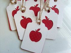 Personalized Thank You Teacher Gift Tags Red Apple Gift tags