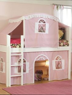 Bolton Furniture Cottage Twin Low Loft Tent Bed with Tent and Built-In Ladder & Disney Minnie Mouse Deluxe Toy Box | Summer Toy ideas | Pinterest ...