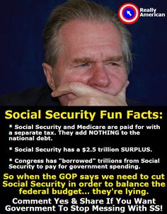 This pin is not just a message to Republicans but to all political parties and anyone else who wants to touch SOCIAL SECURITY. Quit borrowing from it and stop handing it out like candy. Then plenty would be there for those who worked and paid into it. Political Views, It Goes On, Thats The Way, Republican Party, Way Of Life, Social Security, Social Justice, We The People, In This World