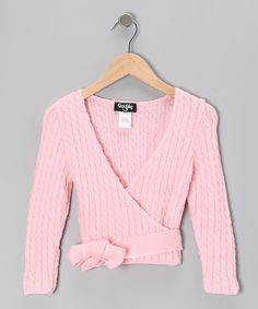 Take a look at this Pink Cable-Knit Wrap Sweater - Girls by Grishko on #zulily today!