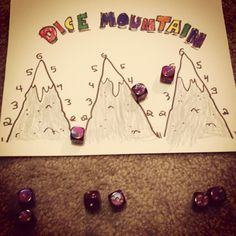 """Dice Mountain is a game my daughter and I invented (I'm sure many other have """"invented"""" the same game). After I bought her a set of dice at one of the cons I was exhibiting at, she asked, """"What do you. Maths Games Ks1, Dice Games, Kindergarten Activities, Fun Games, Games For Kids, Games To Play, Art For Kids, Activities For Kids, Mountain Games"""