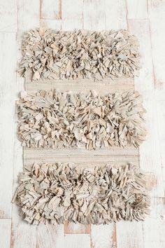 Gray shag striped rug