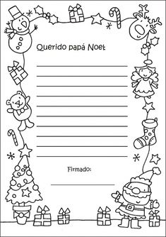 Carta a los Reyes Magos y a Papa Noel.Plantillas - enrHedando Christmas Note, Christmas Crafts For Kids, Christmas Activities, Christmas Printables, Summer Crafts, Christmas Cards, Santa Letter Template, Letter Templates, Writing Paper
