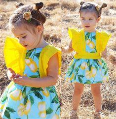Pretty Toddler Baby Kids Girls Princess Summer Lemon Dress Sundress Clothes 0-4T