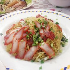 Noodle with grill red pork