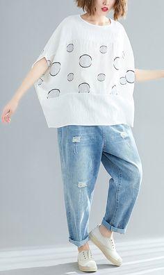 02db31612d104 Beautiful white dotted cotton linen tops women plus size design o neck  Batwing Sleeve short Summer tops. Linen Blouse ...