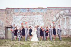 A Happy Navy Blue & Coral Wedding - Grey Suit and Navy Tie