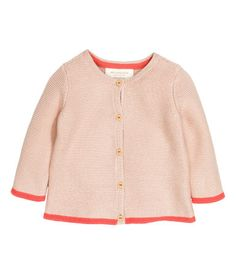 H&M Organic cotton baby sweater powder pink with coral trim