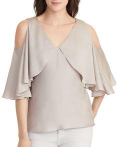 Lauren Ralph Lauren Jezdie Cutout-Shoulder Silk Blouse Women's Putty X Blouse Styles, Blouse Designs, Pencil Skirt Black, Pencil Skirts, Cold Shoulder Blouse, Shoulder Tops, Beautiful Blouses, Blouse Online, Blouse Dress