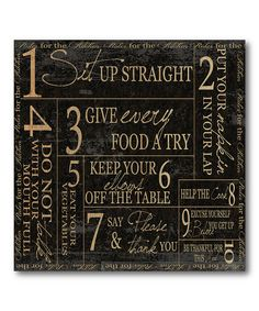 Love this Dining Rules Canvas Wall Art on #zulily! #zulilyfinds