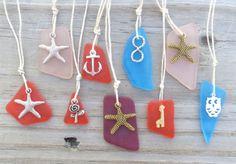 Orange Sea Glass Anchor Charm Necklace