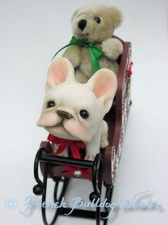 Christmas French Bulldog Ornament-- Original One of a Kind French Bulldog Sculpture by Dasha Goux. $225.00, via Etsy.