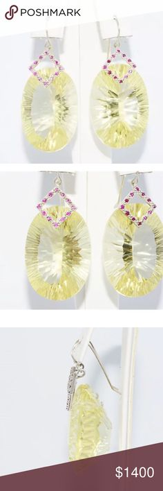 Natural Lemon Quartz, Pink Sapphire & 14K Gold Natural Yellow Lemon Quartz: 100.00cts    Color: Yellow      Clarity: Clean Total # Of Stones: 2     Cut: Oval Natural Pink Sapphire: .30cts      Color: Pink      Clarity: Clean Total # Of stones: 24       Cut: Round Type of Metal: 14K Solid White Gold    Gram Weight: 22.19 Grams Earring Length: 1 3/4 Inches Jewelry Earrings