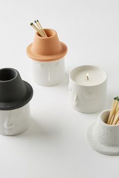 Shop the Persona Ceramic Candle at Anthropologie today. Read customer reviews, discover product details and more. Diy Clay, Clay Crafts, Clay Projects, Sweet Lime, Good Burns, Unique Faces, Large Candles, Home Fragrances, Ceramic Cups