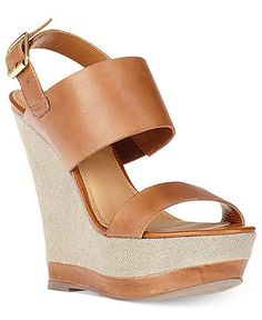Steve Madden Women's Warmthh Wedge Cognac Leather Sandal  - Perfect for a formal night out, worn with leather brown bag or a brown belt.