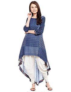 Indigo Cotton Matka Kurta with Dhoti Pants (Set of Salwar Designs, Kurta Designs Women, Kurti Designs Party Wear, Blouse Designs, Frock Fashion, Trend Fashion, Fashion Weeks, 80s Fashion, Style Fashion