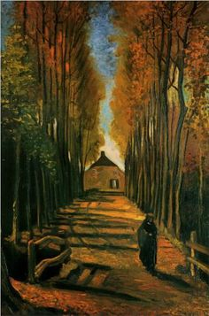 Avenue of Poplars at Sunset 1884. Vincent van Gogh
