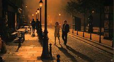 Marion Cotillard (left) and Owen Wilson in a typical shot from Midnight in Paris . Image found here . Midnight in Paris dir. Woody Allen, Darius Khondji, Midnight Paris, Paris 1920s, Paris Paris, Paris Movie, Dutch Angle, Jean Yves, Nostalgia