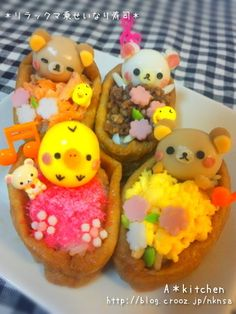 Rilakkuma-Sushi in fried tofu Please repin, like and share! Thanks :)