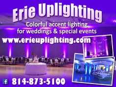 Purple uplights rented by calling Ed at: 814-873-5100