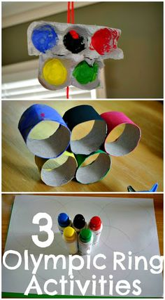 The Iowa Farmer's Wife: 3 Olympic Ring Activities - perfect for toddlers & preschoolers! Love that they're using many recycled items. #kidsart #olympiccrafts #recycledart