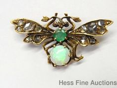 Antique French Hallmark Nat. Opal Emerald Diamond 18k Gold Wasp Moth Insect Pin