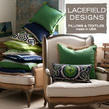 Lacefield Designs Navy and Kelly pillows  #emeraldgreen #MadeintheUSA  www.lacefielddesigns.com