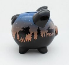 Moose Sunset silhouette piggy bank in Black, orange and blue — Alphadorable Moose Silhouette, Sunset Silhouette, Silhouette Painting, Baby Piggy Banks, The Little Couple, Personalized Piggy Bank, Color Me Mine, Grey And Gold, Pottery Painting