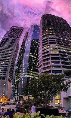 Purple sunset over Brisbane. Yes, we do have pink and purple sunsets, not just trademark burnt orange! Brisbane, Australia