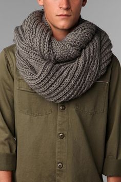 Urban Outfitters Double Cable Knit Eternity Scarf: For men, but it would be just as great on a girl. Super soft, comfy and great for the fall/winter weather.