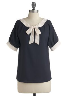 Modern Madeline Top - Blue, White, Bows, Casual, Short Sleeves, Mid-length, 30s, 40s, Nautical, Tie Neck, Best Seller