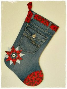 upcycled denim jeans for a great Christmas stocking. Christmas Stocking Pattern, Christmas Sewing, Christmas Projects, Holiday Crafts, Christmas Crafts, Christmas Ornaments, Holiday Ideas, Christmas Decorations, Jean Crafts