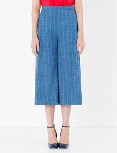 Denim-effect gabardine trousers