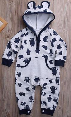 - Baby Boy - Romper - Long sleeve - Hood Free Shipping! Please Allow 2-4 weeks for delivery.