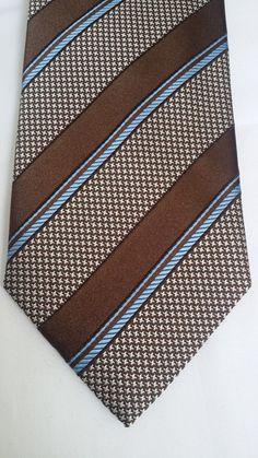 O Canali Stripe Silk Tie NWT Brown Blue White
